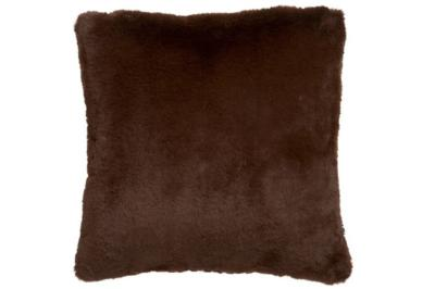 Coussin fausse fourrure chocolat