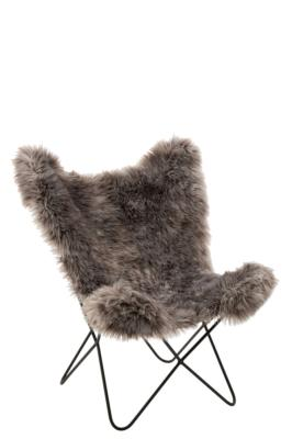 Fauteuil Butterfly fausse fourrure grise