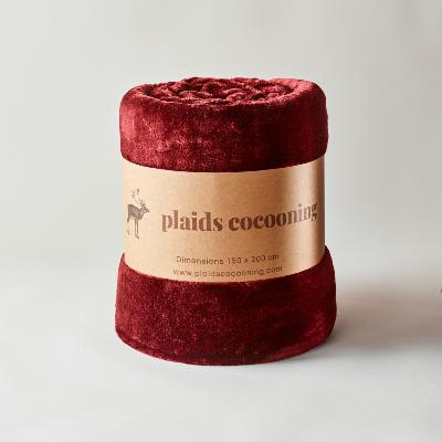 Plaid cosy bordeaux 150 x 200