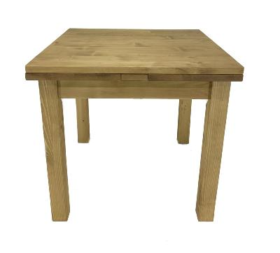 Table 80 x 80 en pin massif avec 2 allonges